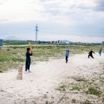 Young boys played cricket in western Kabul